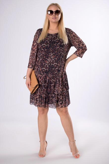 INTER - IREX RENATA  tiulowa sukienka z falbankami M78276 Платья +Size Коричневый оптом
