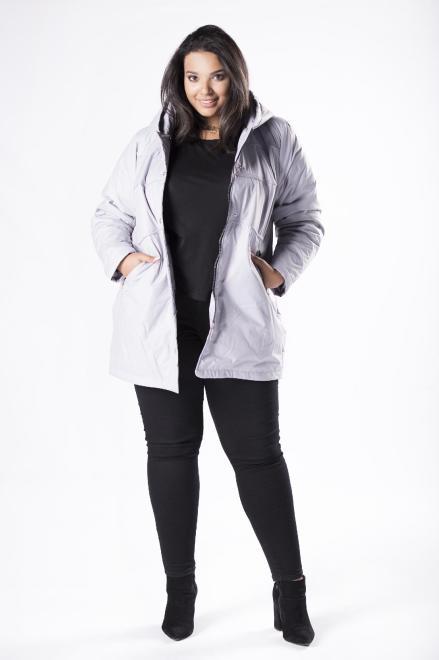 MIDAN II  kurtka parka z kapturem M81117 Куртка +Size Серый оптом