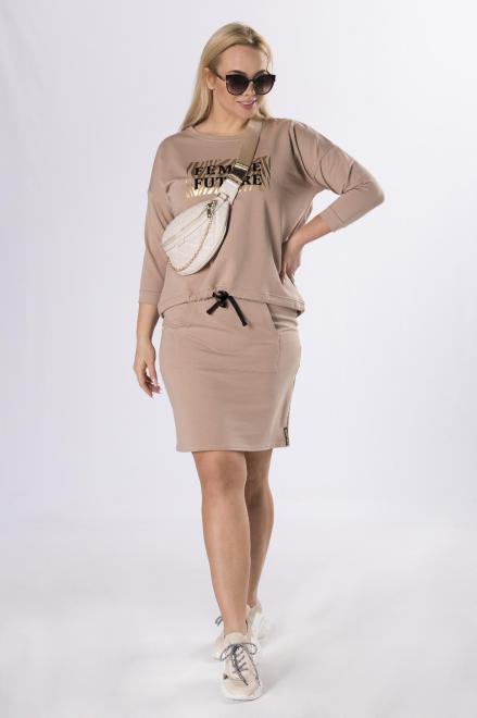 DOMINO STYL  bluza z połyskującym nadrukiem  M83367 Блузы +Size Бежевый оптом