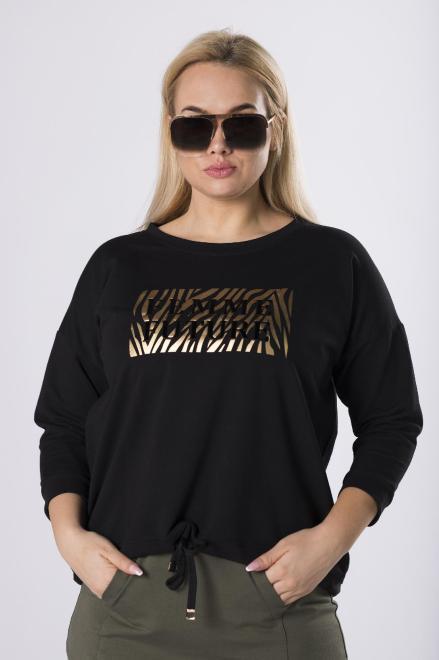 DOMINO STYL  bluza z połyskującym nadrukiem  M83367 Блузы +Size Черный оптом