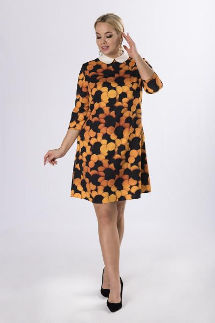 MODA DOROTHY  wzorzysta sukienka z kołnierzykiem  M83340 Платья +Size Multikolor оптом