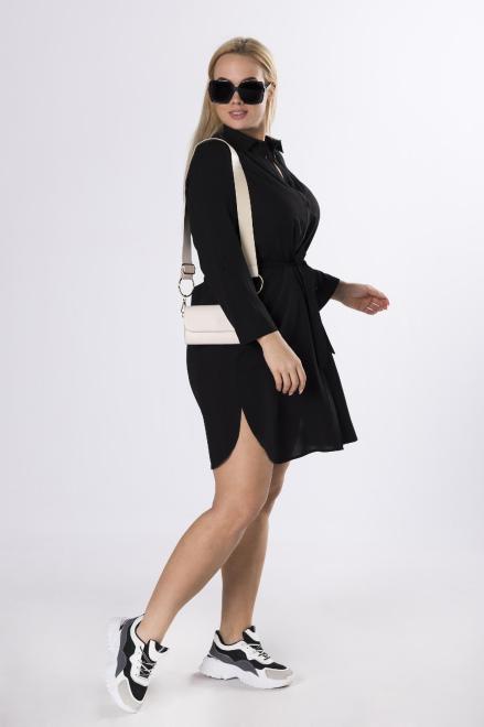 SANDRA  koszulowa tunika z wiązaniem  M83165 Блузки +Size Черный оптом