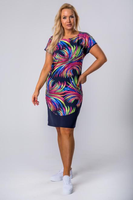 BRENDA  sukienka z wzorzystym przodem M79480 Платья +Size Темносиний оптом