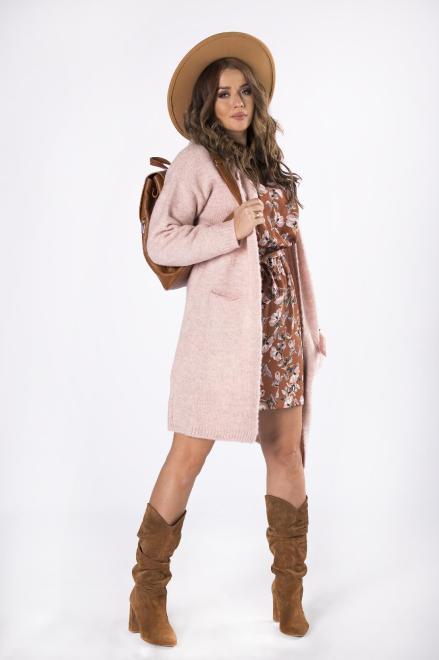 NATI  długi sweter z kapturem  M82241 Свитер +Size Розовый оптом