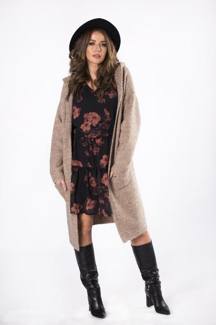NATI  długi sweter z kapturem  M82241 Свитер +Size Бежевый оптом