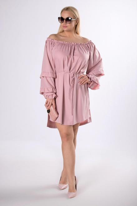 IZEE  sukienka z dekoltem carmen M83408 Платья +Size Розовый оптом