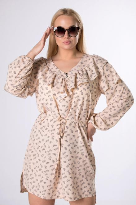 IZEE  sukienka z falbaną na biuście M83407 Платья +Size Бежевый оптом