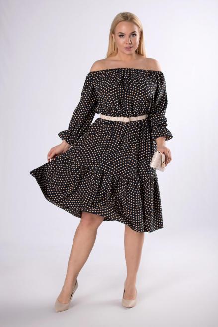 IZEE  sukienka z dekoltem carmen M83465 Платья +Size Темносиний оптом