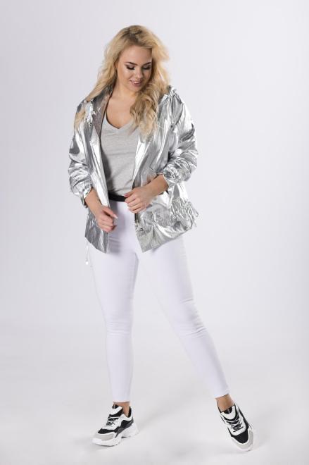 BOG-MAR  metaliczna kurtka z kapturem  M83248 Куртка +Size Серебрянный оптом