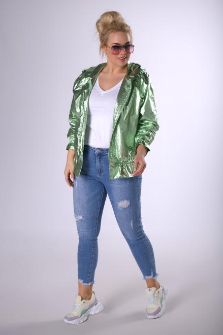 BOG-MAR  metaliczna kurtka z kapturem  M83248 Куртка +Size Зеленый оптом