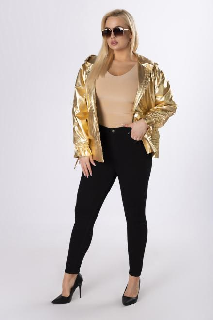 BOG-MAR  metaliczna kurtka z kapturem  M83248 Куртка +Size золотой оптом