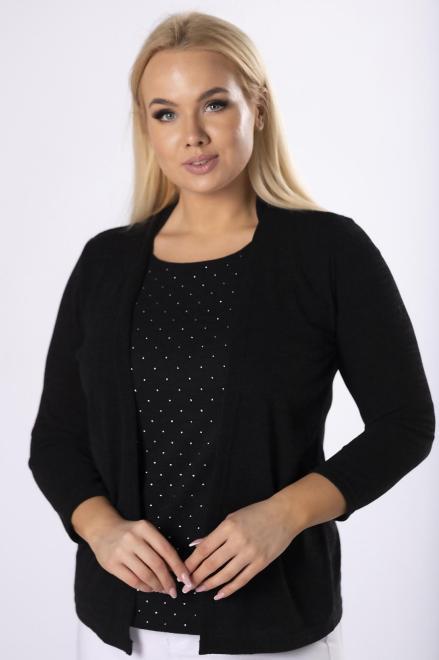 HALINA  bluzka z imitacją narzutki M82007 Блузки +Size Черный оптом