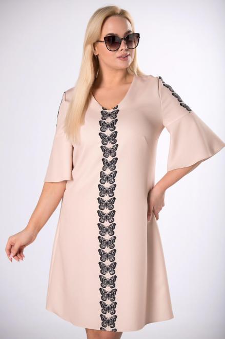 MODA DOROTHY  koktajlowa sukienka w motyle M83634 Платья +Size Бежевый оптом