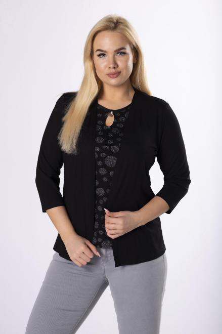 HALINA  bluzka z imitacją narzutki M83633 Блузки +Size Черный оптом