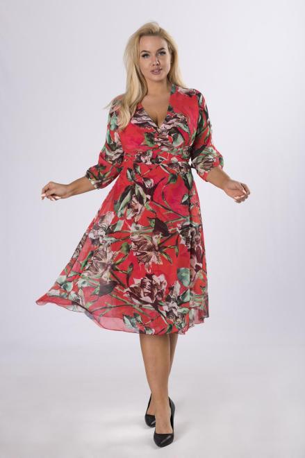 BELLEZZA  kopertowa sukienka midi z wiązaniem M70171 Платья +Size Multikolor оптом
