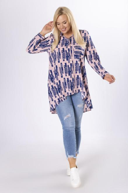 SANDRA  wzorzysta koszula z wydłużonym tyłem M83628 Блузки +Size Розовый оптом