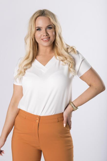 LUIZA  bluzka z krótkim rękawem  M83773 Блузки +Size Кремовый оптом