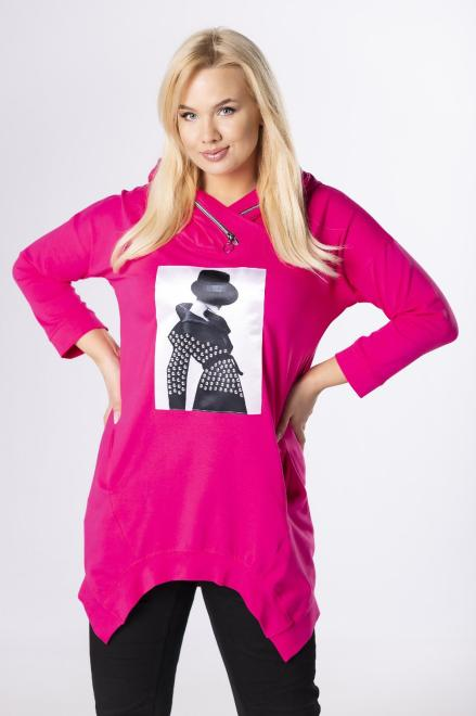 MONIKA  bluza z asymetrycznym dołem  M83793 Блузы +Size Розовый оптом