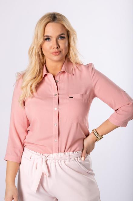 SANDRA  koszula z rozcięciami na bokach  M83699 Блузки +Size Розовый оптом