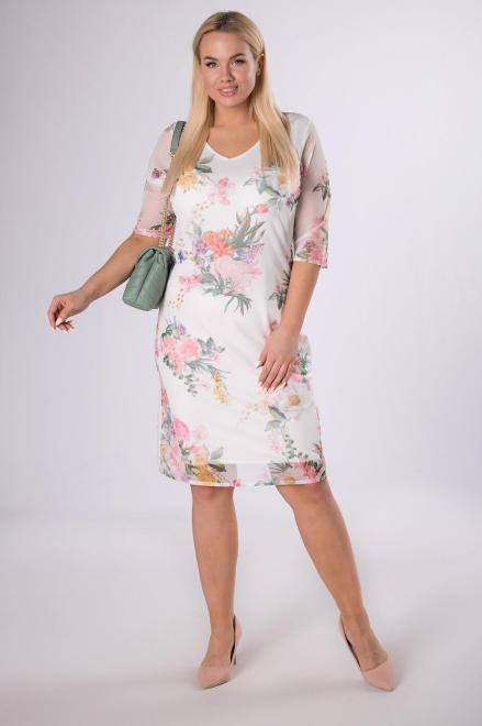 LUIZA  sukienka z siateczki na podszewce M83855 Платья +Size Кремовый оптом