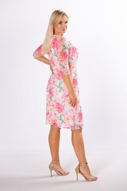 LUIZA  sukienka z siateczki na podszewce M83855 Платья +Size Розовый оптом