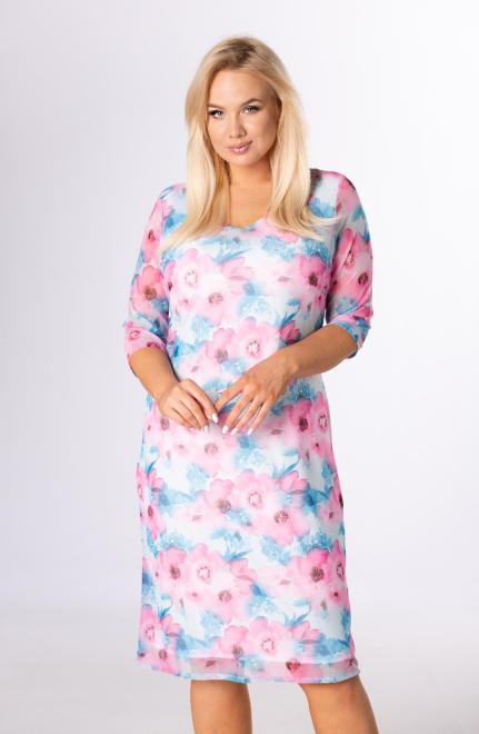 LUIZA  sukienka z siateczki na podszewce M83855 Платья +Size Голубой оптом