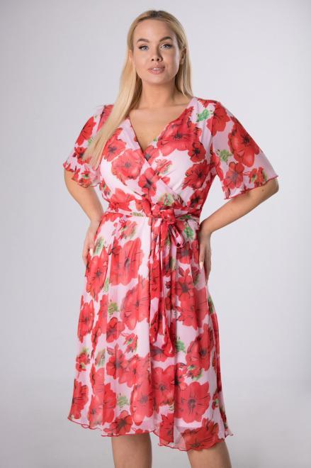 INTER - IREX RENATA  Rozkloszowana sukienka w kwiaty M83800 Платья +Size Multikolor оптом