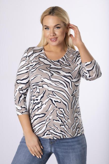 AGA  dzianinowa bluzka z rękawem 3/4 M83845 Блузки +Size Бежевый оптом