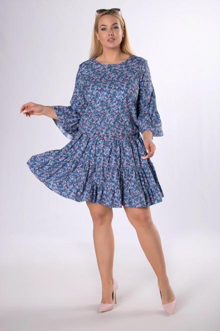 BRENDA  wzorzysta sukienka z falbankami  M83852 Платья +Size Голубой оптом