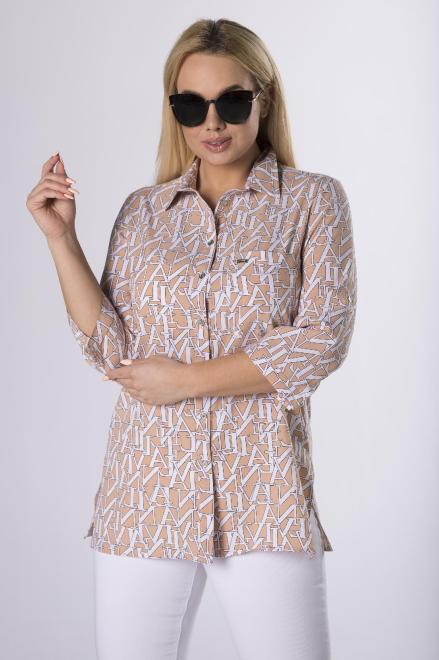 SANDRA  wzorzysta koszula z rozcięciami po bokach M83698 Блузки +Size Multikolor оптом