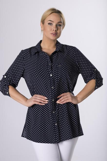 SANDRA  koszula w groszki M72606 Блузки +Size Темносиний оптом