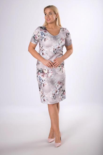 MARTEX  klasyczna sukienka w kwiatowy print M83797 Платья +Size Серый оптом