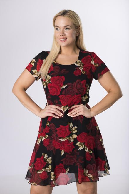 MODUSS  sukienka taliowana z falbaną M83772 Платья +Size Черный оптом