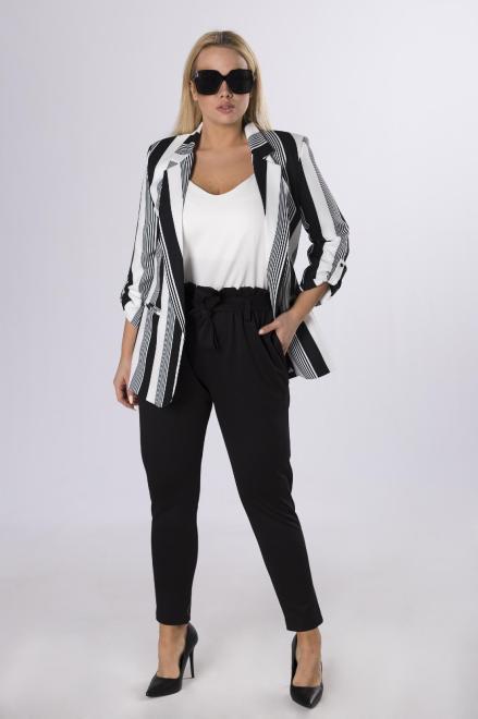LA TOYA  eleganckie spodnie z talią paper bag M83853 Брюки +Size Черный оптом