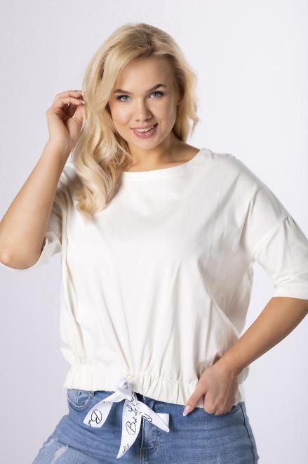 ROXANA  bluzka z ozdobnym ściągaczem  M83983 Блузки +Size Кремовый оптом