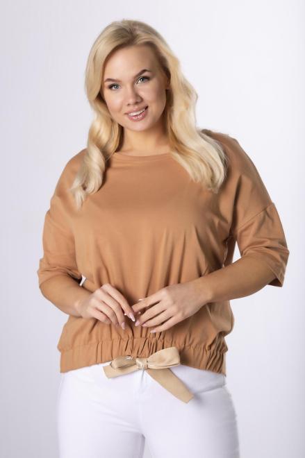 ROXANA  bluzka z ozdobnym ściągaczem  M83983 Блузки +Size Коричневый оптом