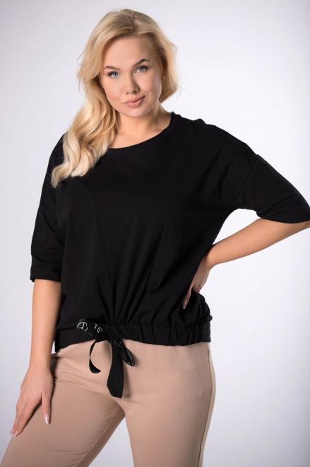 ROXANA  bluzka z ozdobnym ściągaczem  M83983 Блузки +Size Черный оптом