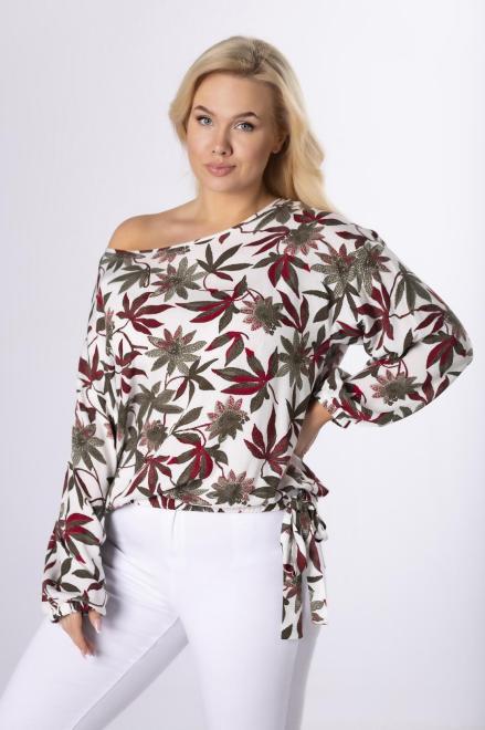 DOMINO STYL  wzorzysta bluzka ze ściągaczem M83957 Блузки +Size Multikolor оптом