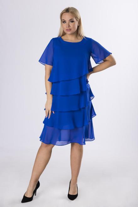 LA TOYA  szyfonowa sukienka z asymetrycznymi falbanami M63624 Платья +Size Голубой оптом