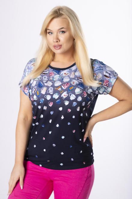 EMI  bluzka z kolorowym printem M84096 Блузки +Size Темносиний оптом