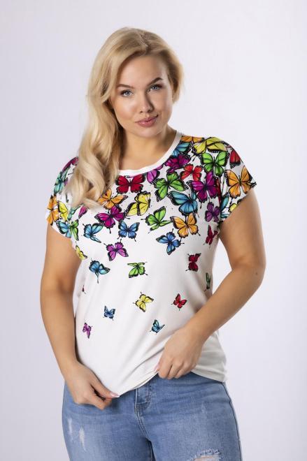 EMI  t-shirt w kolorowe motyle M84035 Блузки +Size Кремовый оптом