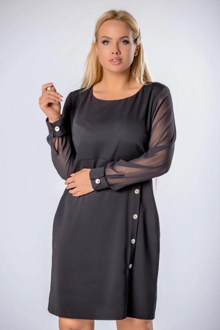 TRYNITE  sukienka z delikatnymi rękawami i ozdobnymi guzikami  M81761 Платья +Size Черный оптом