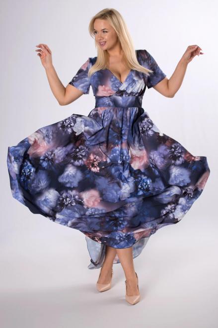 IZEE  wzorzysta sukienka maxi z kopertowym dekoltem M84117 Платья +Size Multikolor оптом