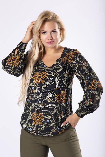 MILANO MODA  bluzka z  bufiastymi rękawami M81630 Блузки +Size Черный оптом