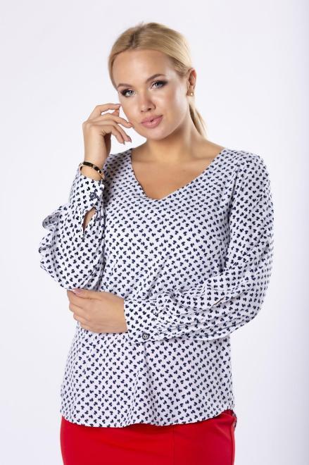 MILANO MODA  bluzka z  bufiastymi rękawami M81630 Блузки +Size Кремовый оптом
