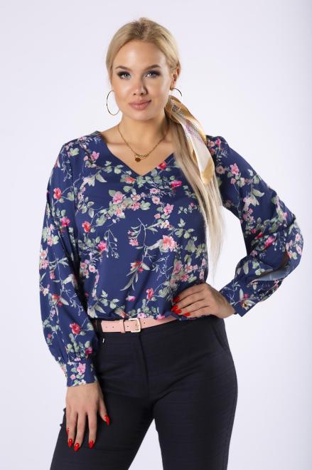 MILANO MODA  bluzka z  bufiastymi rękawami M81630 Блузки +Size Темносиний оптом