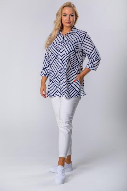 SANDRA  bluzka o koszulowym kroju z rękawem 3/4 M78608 Блузки +Size Multikolor оптом