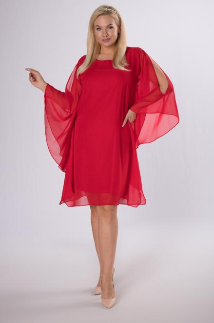 MADAM TRIS  szyfonowa sukienka z narzutką M84136 Платья +Size Красный оптом