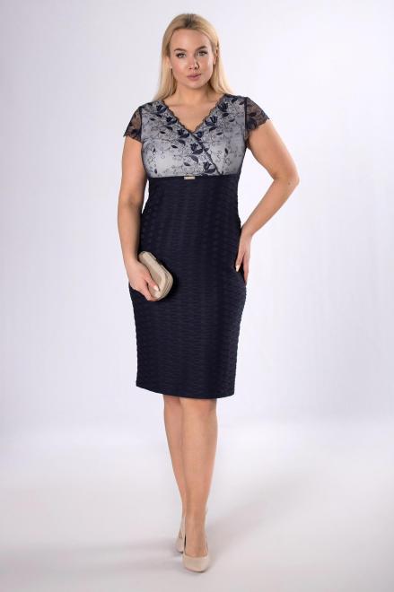 TRYNITE  ołówkowa sukienka z koronkową górą M83723 Платья +Size Темносиний оптом