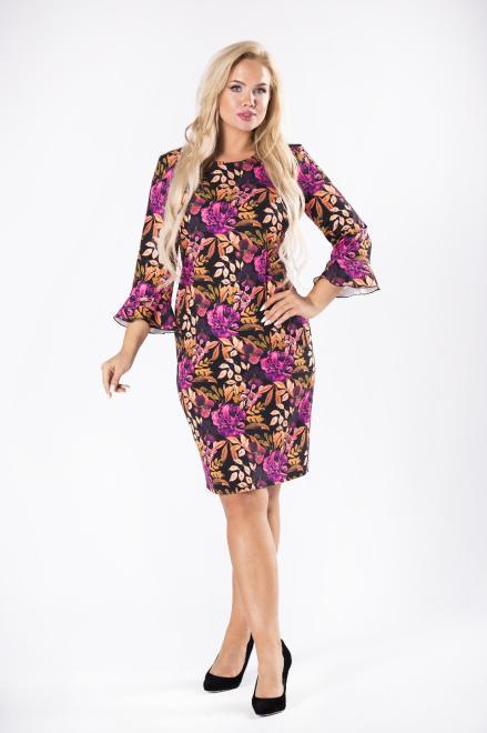 BRENDA  dopasowana sukienka z rozszerzanymi rękawami M81501 Платья +Size Multikolor оптом
